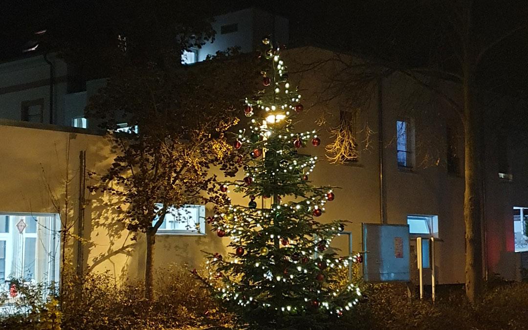 Tannenbaum bei Nacht mit Schmuck und Lichterketten