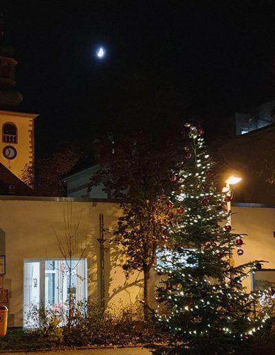 Tannenbaum bei Nacht mit Kirche und Mond