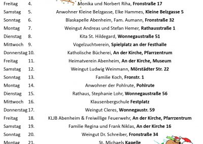 Kalender mit allen Adventsfenstern